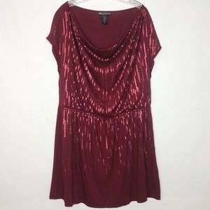 Lane Bryant Wine Sequin Dress 14/16 Elastic Waist